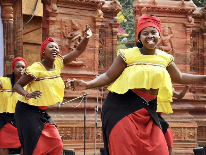 South African artists performing during Surajkund International Crafts Mela in Faridabad. Photo: PTI