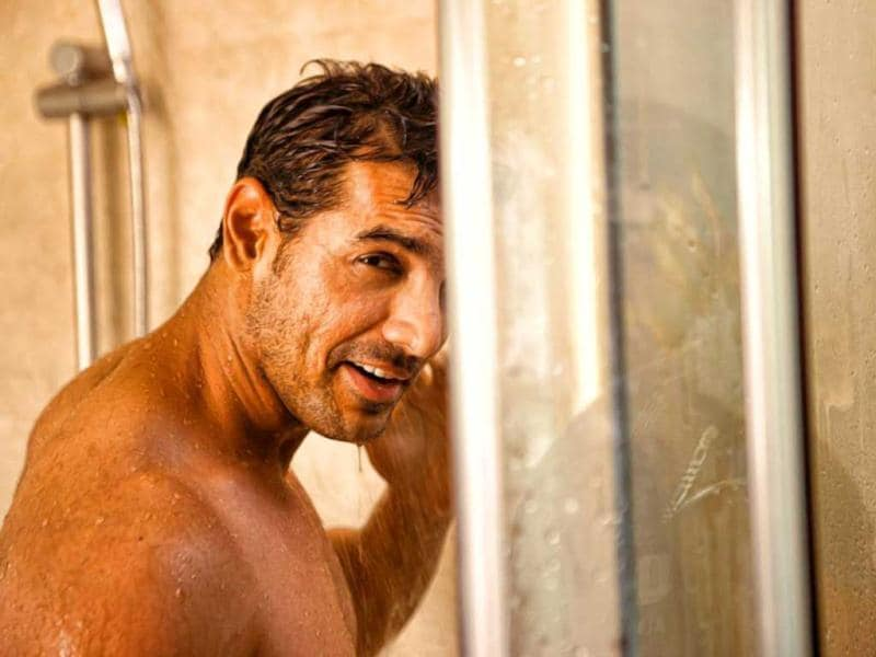 John Abraham goes bare in this still for his upcoming movie I, Me Aur Main.