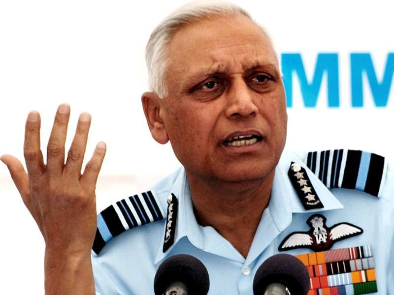 File photo of Indian Air Force chief Shashi Tyagi addressing a press conference in Gandhinagar.
