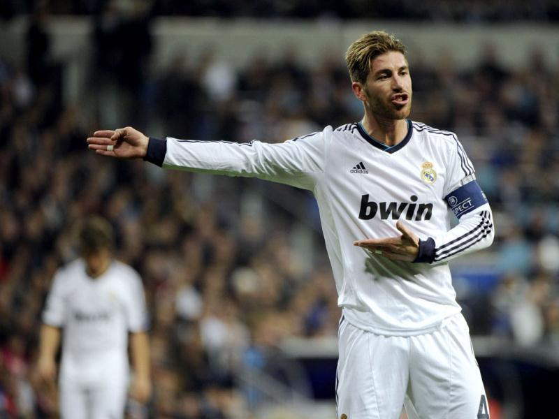 Real Madrid's defender Sergio Ramos reacts during the UEFA Champions League round of 16 first leg football match between Real Madrid and Manchester United at the Santiago Bernabeu stadium in Madrid. AFP
