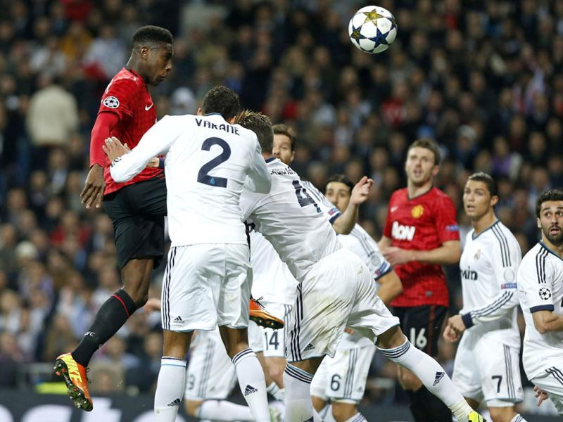 Manchester United's Danny Welbeck scores the opening goal during the Champions League match between Real Madrid and Manchester United at the Santiago Bernabeu stadium in Madrid. AP