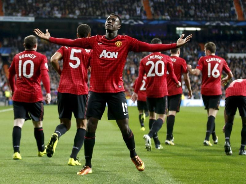 Manchester United's Danny Welbeck celebrates after scoring the opening goal against Real Madrid during their Champions League soccer match at Santiago Bernabeu stadium in Madrid. Reuters