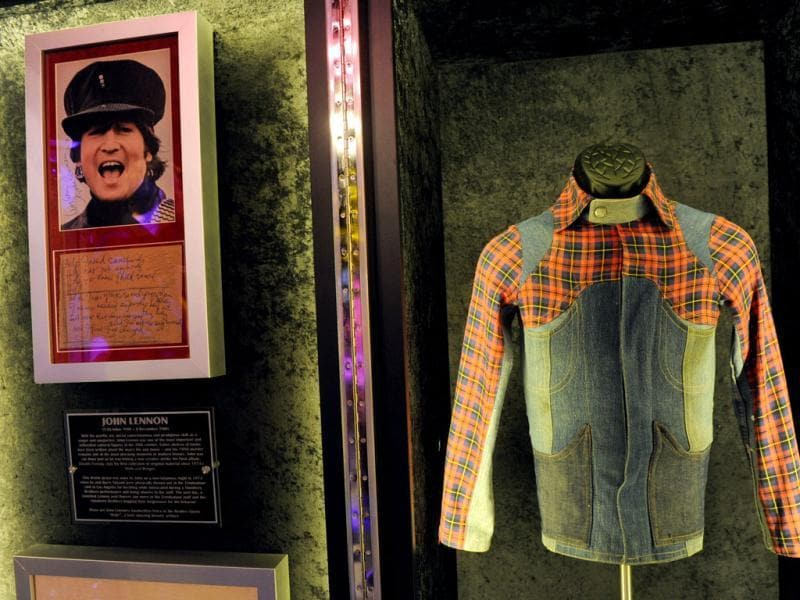A jacket worn by John Lennon and his lyrics to the song