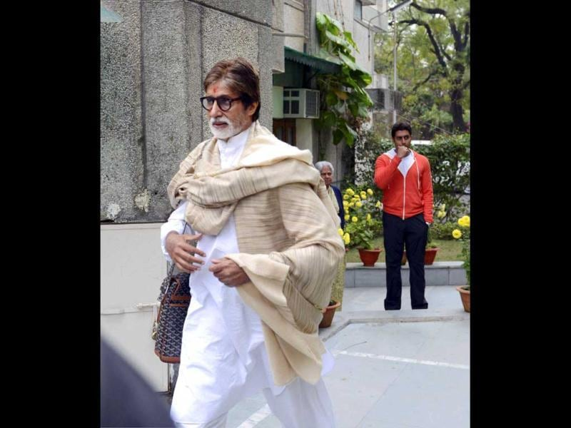 Amitabh Bachchan leaves his mother-in-law Indira Bhaduri's house in Bhopal.