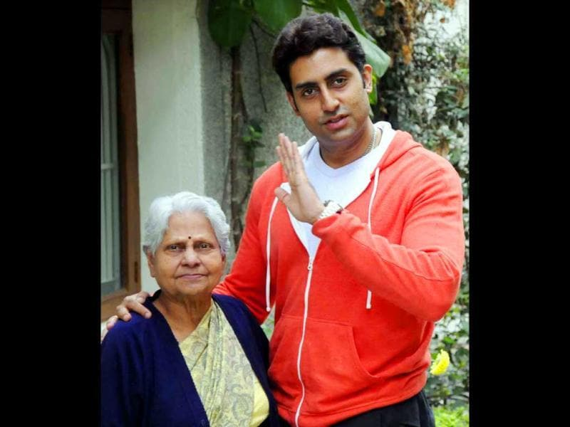 Abhishek Bachchan poses with his grandmother Indira Bhaduri in Bhopal.
