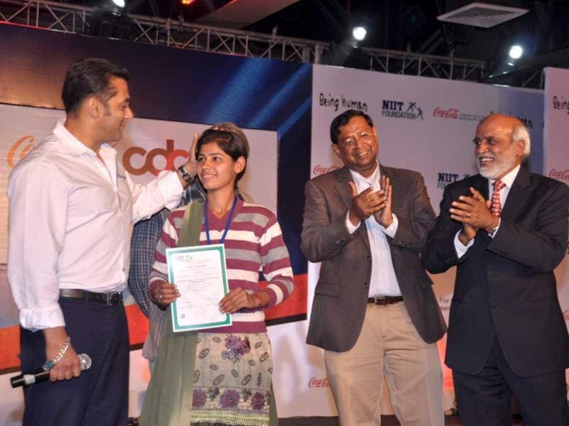 Salman Khan was in Delhi to promote rural youth empowerment under the name of his charitable trust Being Human. Being Human foundation joined hands with Hindustan Coca-Cola Beverages Pvt Ltd (HCCBPL) to scale up Career Development Centre (CDC), an initiative to empower rural, educated and underserved youth.