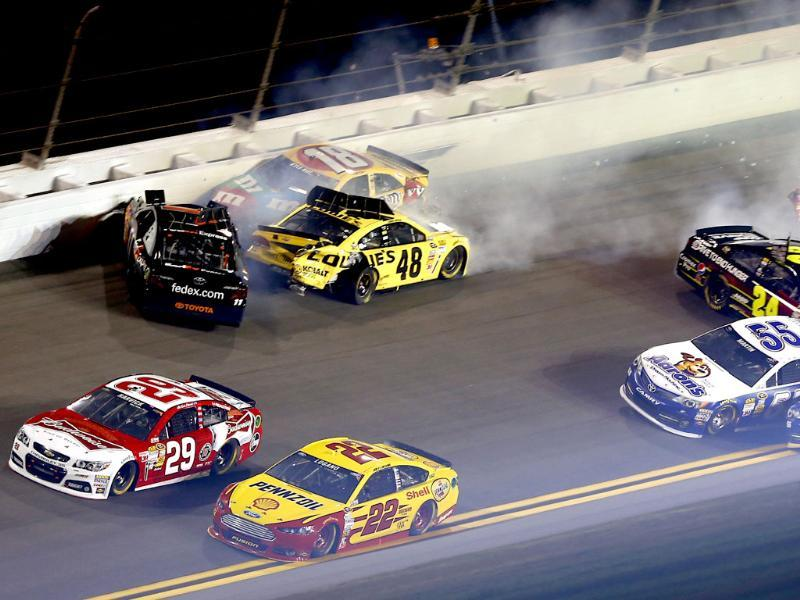 Kevin Harvick, Denny Hamlin, Jimmie Johnson, Kyle Busch, Jeff Gordon, Mark Martin, Martin Truex Jr.Kevin Harvick and Joey Logano drive away from a wreck in the NASCAR Sprint Unlimited auto race at Daytona International Speedway in Daytona Beach, Fla. AP/John Moore