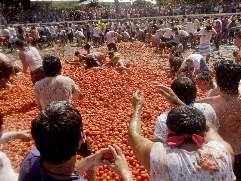 Revellers play with tomatoes during a