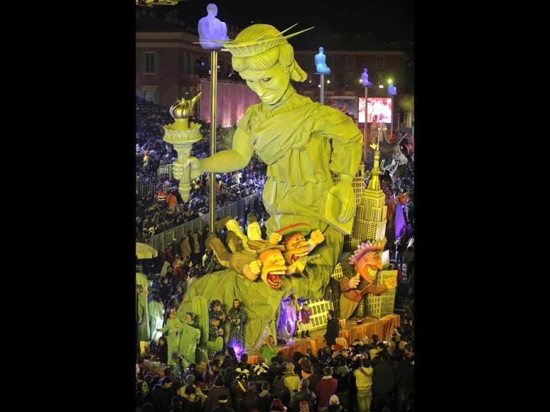 A float representing The Statue of Liberty parades during the 129th edition of the Nice Carnival, France. (AP)