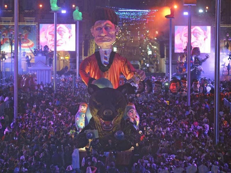 A float depicting President of Russia Vladimir Putin parades during the 129th edition of the Nice Carnival in Nice, France. (AP)