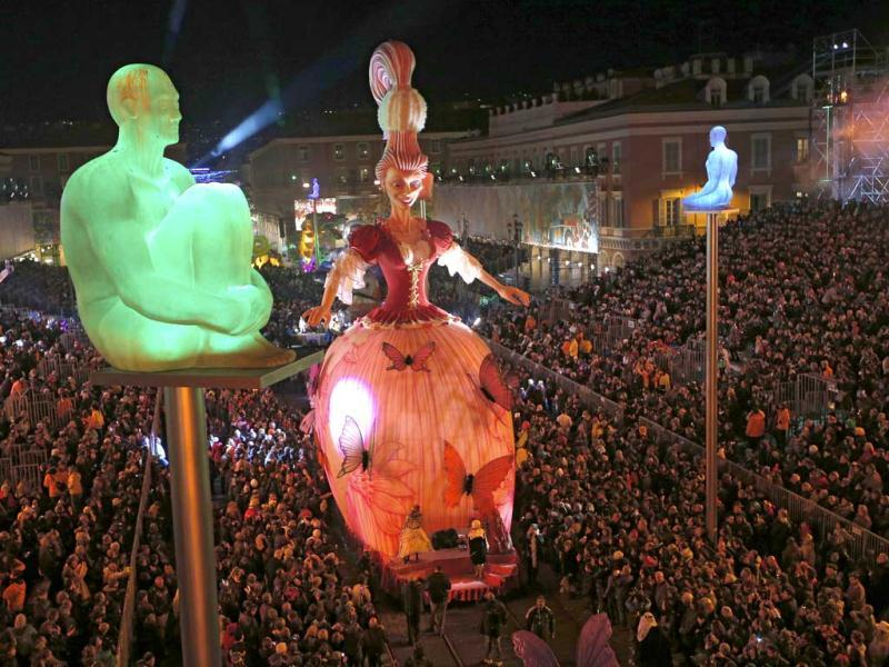 The Queen of the Nice Carnival 2013's float parades during the 129th edition of the Nice Carnival in Nice, southern France. (AP)