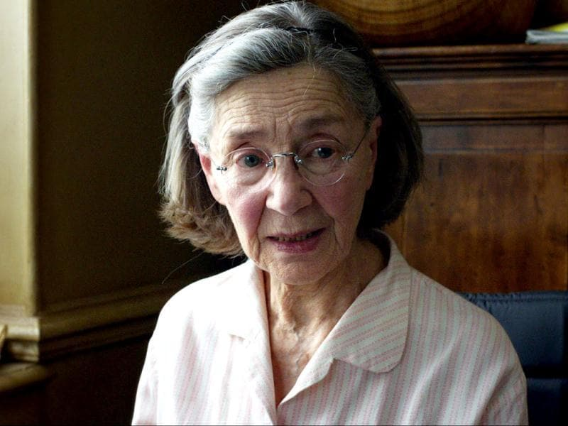 85-year-old Emmanuelle Riva plays a cultivated, retired music teacher Anne who gets an attack one day in Best Picture nominated Amour.