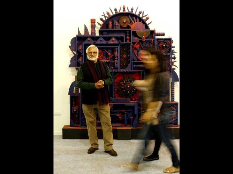 Manu Parekh with his work Annapurna at India Art Fair.