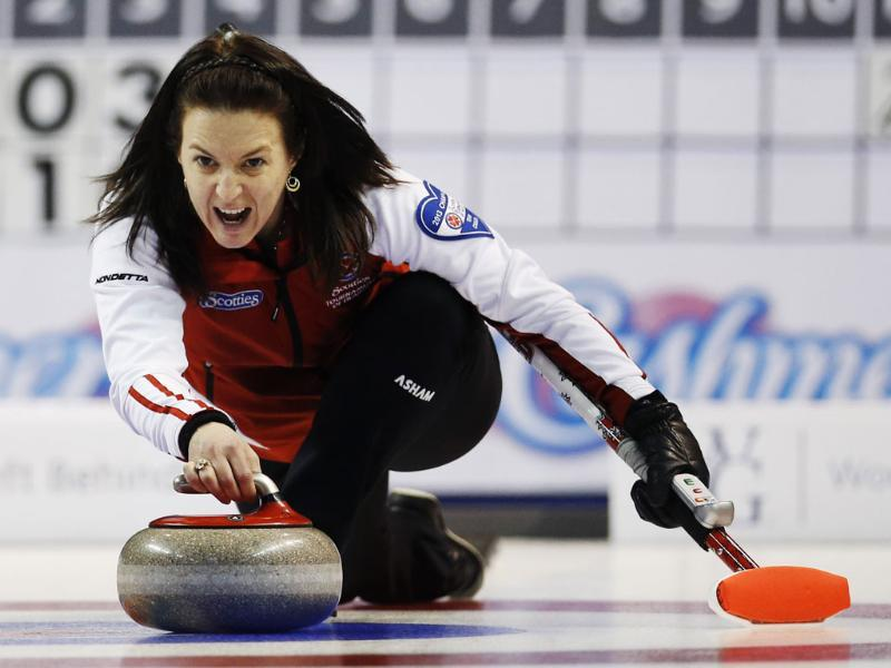 Team Canada's Heather Nedohin takes a shot against Newfoundland and Labrador during the seventh draw at Scotties Tournament of Hearts curling championship in Kingston. Reuters/Mark Blinch