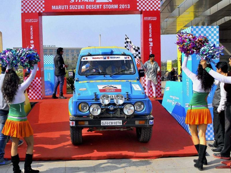 Participants moves druing the Maruti Suzuki Desert Storm 2013 rally from Delhi on Monday. Photo:PTI