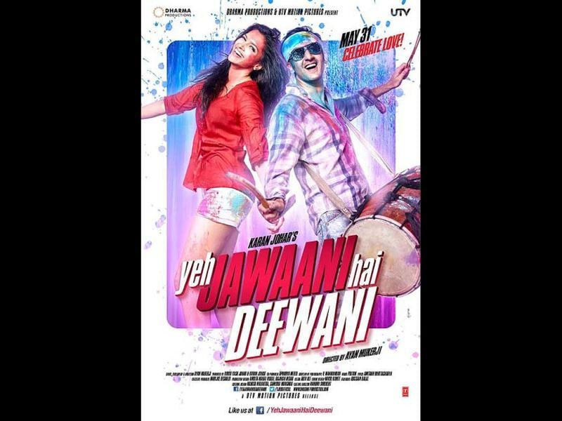 Deepika and Ranbir look cheerful in this second poster of Yeh Jawaani Hai Deewani with colours splashed all over them.