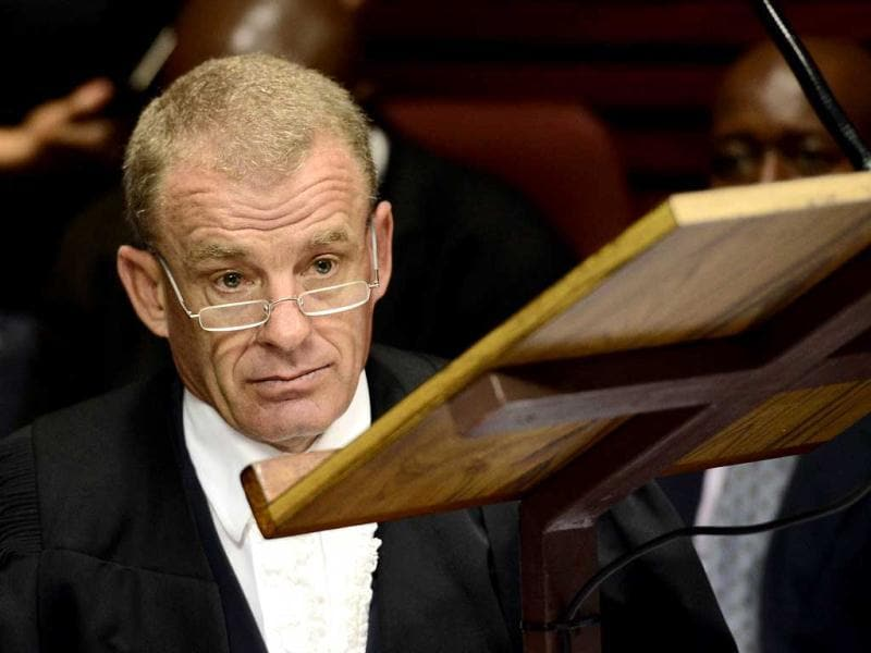 South African prosecutor Gerrie Nel attends the bail hearing of South African Olympic sprinter Oscar Pistorius at the Magistrate Court in Pretoria. AFP