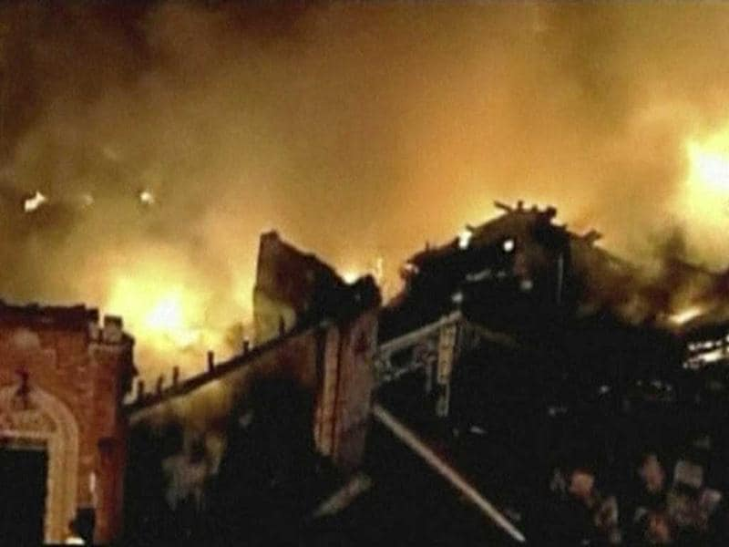 A still image taken from a KHSB-TV video footage shows aerial of the flames and firefighters working at the scene of a fire at Kansas City, Missouri. (Reuters)