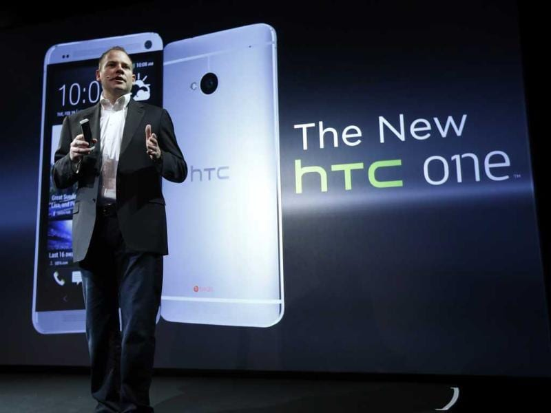 HTC president Jason Mackenzie shows the new HTC One during a launch event in New York. Reuters/Brendan McDermid