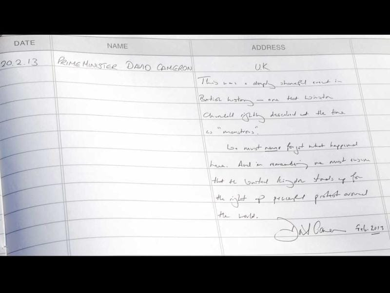 British Prime Minister David Cameron's comments on the visitor's book after paying homage to the martyrs of 1919 Jallianwala Bagh Massacre at Jallianwala Bagh, during Amritsar visit. HT photo