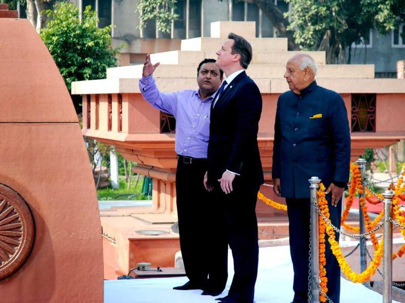 British Prime Minister David Cameron visits the site of a notorious 1919 massacre of hundreds of Indians by British forces, in Amritsar. AP photo