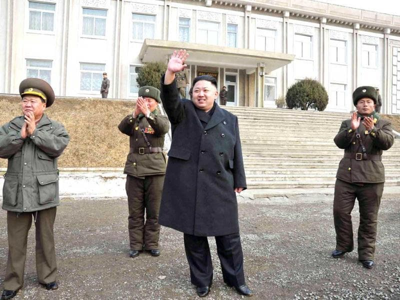 North Korean leader Kim Jong-un waves during an inspection of the Korean People's Army Unit 323 honoured with the title of O Jung-hup-led 7th Regiment, in this undated recent picture released by the North's official KCNA news agency in Pyongyang. Reuters/KCNA