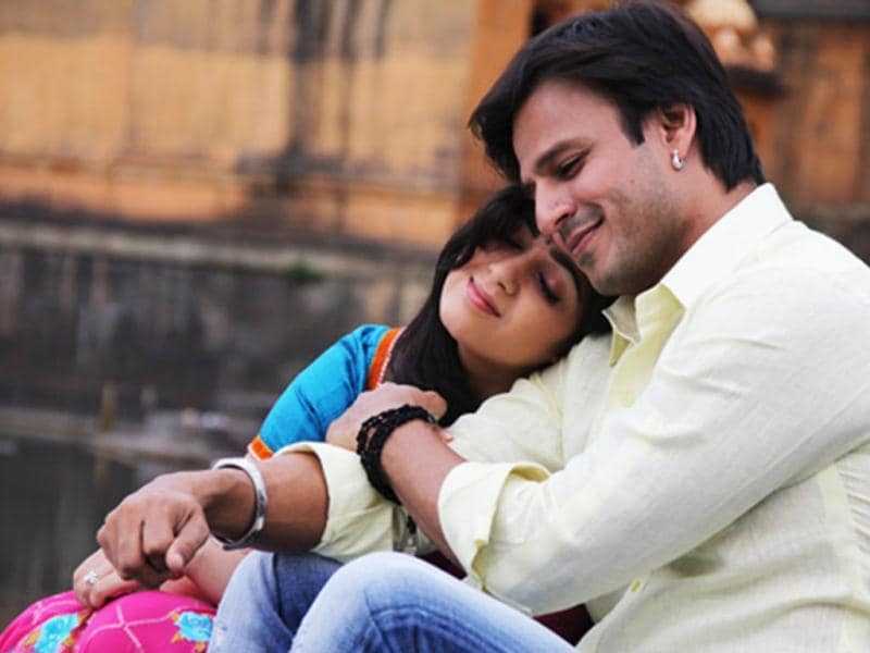 Vivek Oberoi and Charmee Kaur in a still from Zila Ghaziabad that releases today. The two actors are seen in a romantic scene from the film.