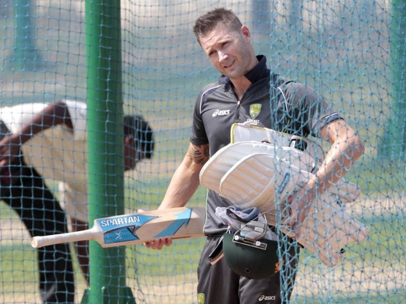Australia captain Michael Clark during the team's practice session ahead of the first Test match betwee against India and Australia at Chepock stadium in Chennai . HT photo/Santosh Harhare
