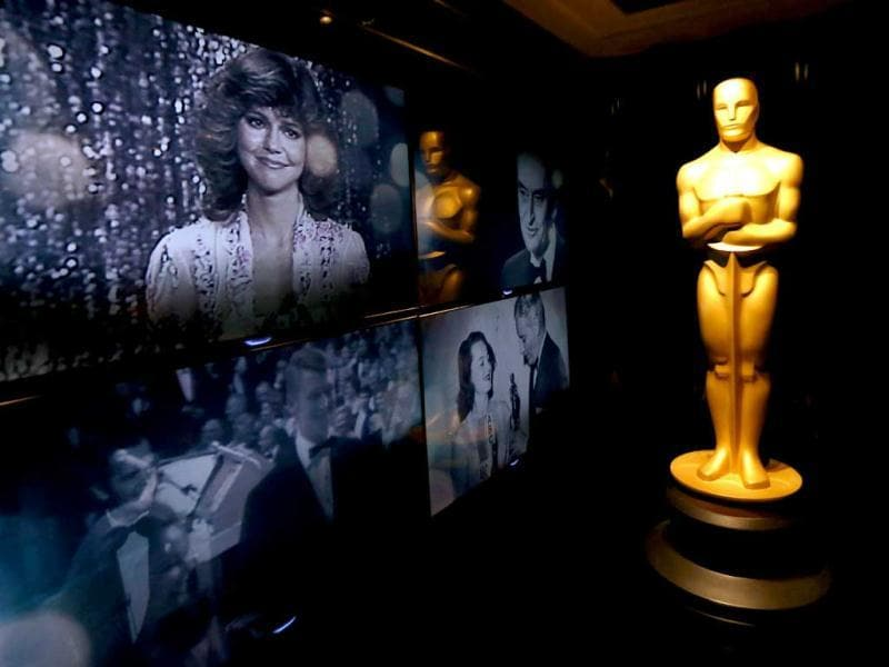 An Oscar statue is seen in front of the Oscar Green Room for the 85th Academy Awards in Los Angeles. (AP)