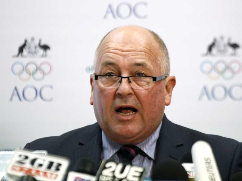 Australian Olympic Committee Secretary-General Craig Phillips talks during a news conference in central Sydney. (Reuters)