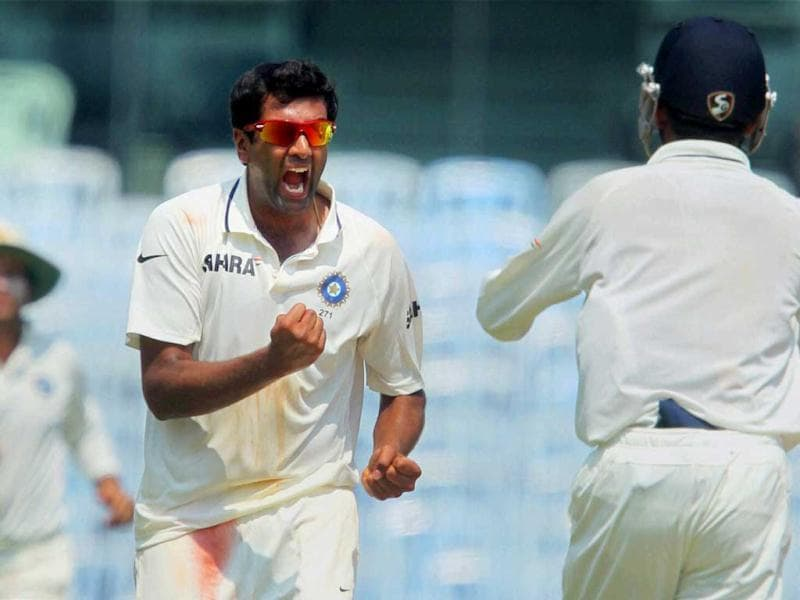 R Ashwin celebrating for the wicket of Australia's Matthew Wade during the first Test match at MA Chidambaram Stadium in Chennai. (PTI)
