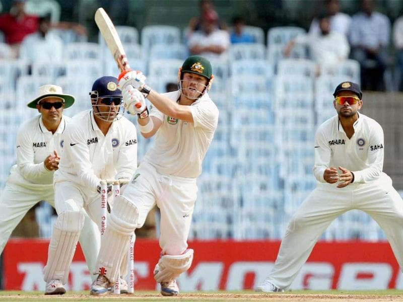 Australia's David Warner plays a shot during the first innings of the first Test match at MA Chidambaram Stadium in Chennai. (PTI)
