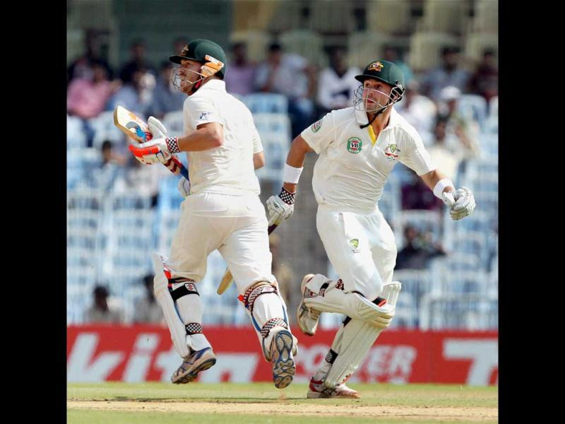 Australia's openers David Warner and Ed Cowan during the first innings of the first Test match at MA Chidambaram Stadium in Chennai. (PTI)