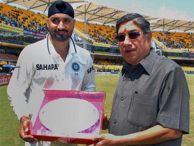 Harbhajan Singh being greeted by BBCI president N Srinivasan for his 100th Test appearance during the first Test match between India and Australia at MA Chidambaram Stadium in Chennai. (PTI)