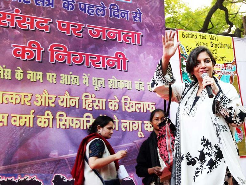 Bollywood actress and social activist Shabana Azmi arrives a protest rally organised by Freedom Without Fear demanding changes in a proposed law against sexual crimes, saying it needed to be stronger and more defined on Thursday. (PTI Photo)