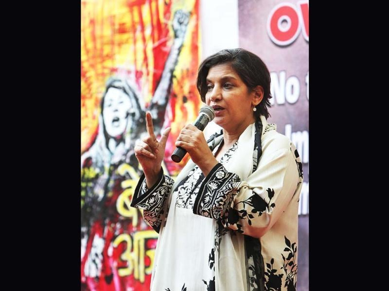 Shabana Azmi addresses a protest rally organised by Freedom Without Fear demanding changes in a proposed law against sexual crimes in New Delhi on Thursday, February 21. (PTI Photo)