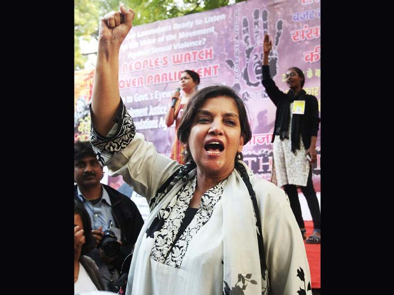 Veteran Bollywood actress and social activist Shabana Azmi at a protest rally organised by Freedom Without Fear in New Delhi on Thursday. The organistaion is demanding changes in a proposed law against sexual crimes, claiming that it needed to be stronger and more defined. (PTI Photo)