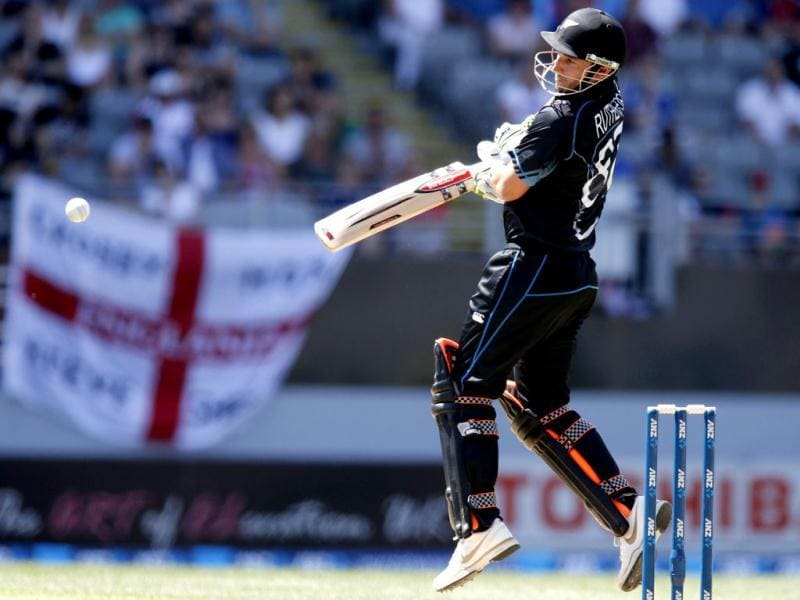 Hamish Rutherford of New Zealand plays a shot against England during the final cricket match of their one-day international series at Eden Park, Napier. REUTERS