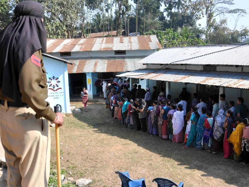 Security vigil outside the voting centre at Pillangkata vote centre in Meghalaya. Agencies
