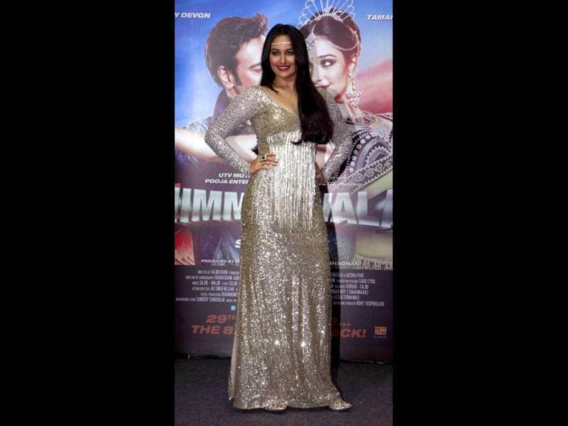Sonakshi Sinha looks awesome in a bling dress. AFP Photo