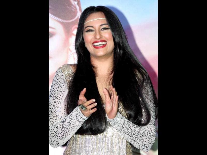 Sonakshi Sinha laughs out loud at the launch. PTI Photo
