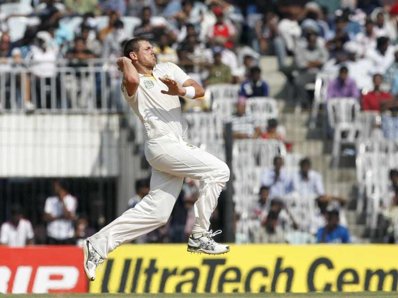 Australian bowler James Pattinson bowls during second day of Test cricket match between India and Australia at MA Chidambaram Stadium, in Chennai, India. (HT Photo/Santosh Harhare)
