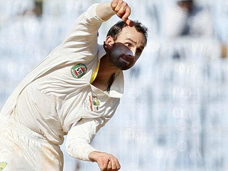 Australian bowler Lyon bowls during the third day of the first Test match between India and Australia at MA Chidambaram stadium in Chennai. (HT Photo/Santosh Harhare)