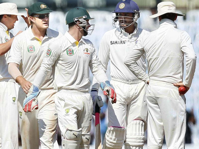 Indian batsman Harbhajan Singh and Australian wicket-keeper in an argument during the third day of the first Test match between India and Australia at MA Chidambaram stadium in Chennai. (HT Photo/Santosh Harhare)