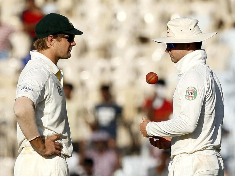 Australian captain Clarke and vice captain Watson in a discussion during the third day of the first Test match between India and Australia at MA Chidambaram stadium in Chennai. (HT Photo/Santosh Harhare)