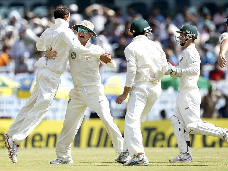 Australian bowler Lyon celebrates Tendulkar's wicket with his teammates during the third day of the first Test match between India and Australia at MA Chidambaram stadium in Chennai. (HT Photo/Santosh Harhare)