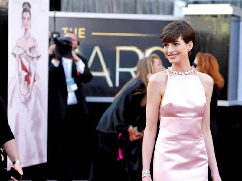 Actress Anne Hathaway arrives at the Oscars at the Dolby Theatre on Sunday Feb. 24, 2013, in Los Angeles. AP Photo