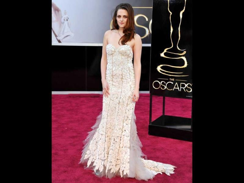 Actress Kristen Stewart arrives at the Oscars at the Dolby Theatre on Sunday Feb. 24, 2013, in Los Angeles. AP Photo