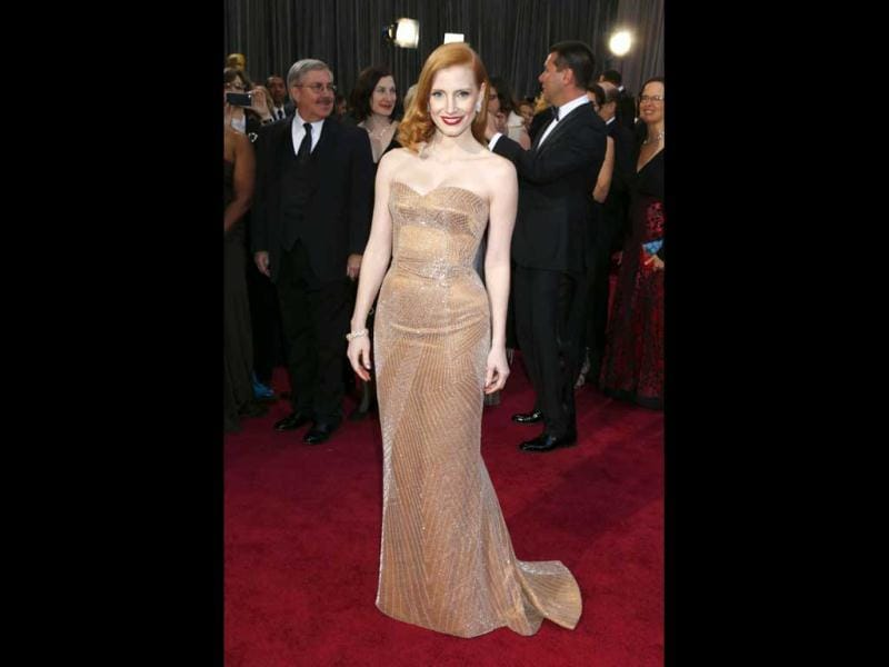 Actress Jessica Chastain arrives at the Oscars at the Dolby Theatre on Sunday Feb. 24, 2013, in Los Angeles. AP Photo