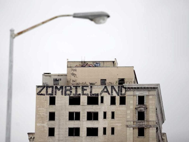 Graffiti covers an abandoned building in Detroit, Michigan. (AFP)